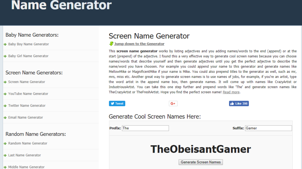 Screen Name Generator