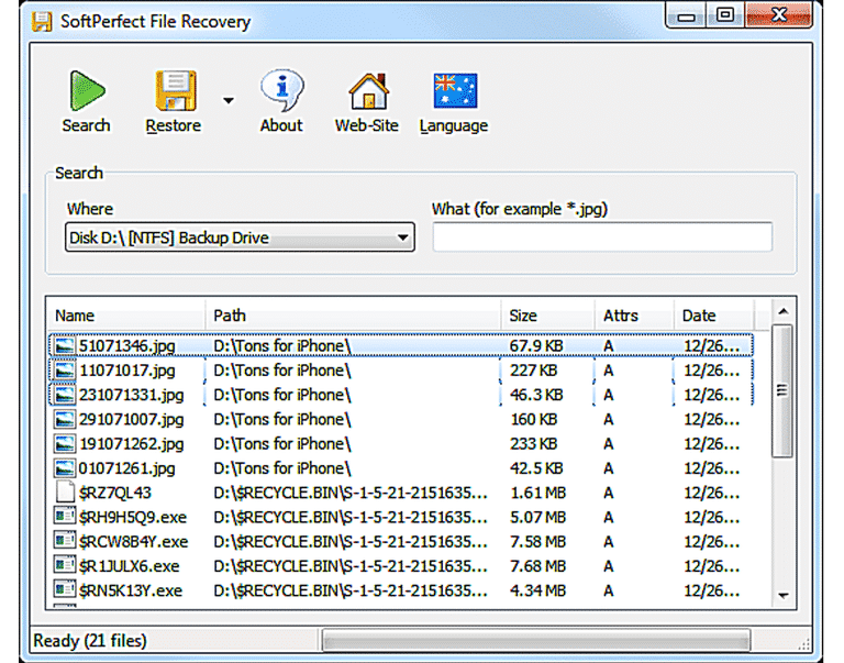 Best Data Recovery Software softperfect file recovery