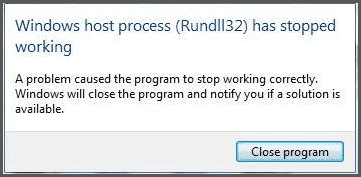 Windows Host Process Rundll32 has stopped working