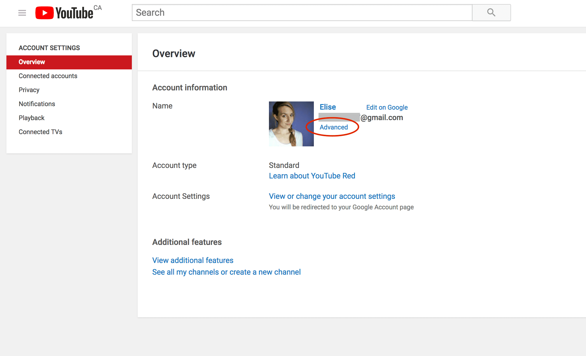How to delete a YouTube channel advanced settings