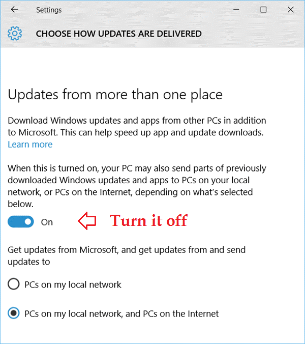 Increase Download Speed turn off updates