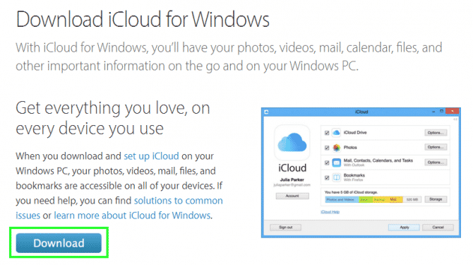 iCloud for windows 10 step 1