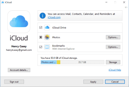 iCloud for windows 10 step 9